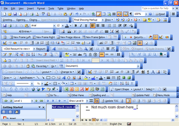 It's easy to lose sight of publishing technical content, when using the tool requires too much screen space, or  memory capacity such as the Word 2003 toolbar options (graphic source: Sam Morris, robots.org.uk0
